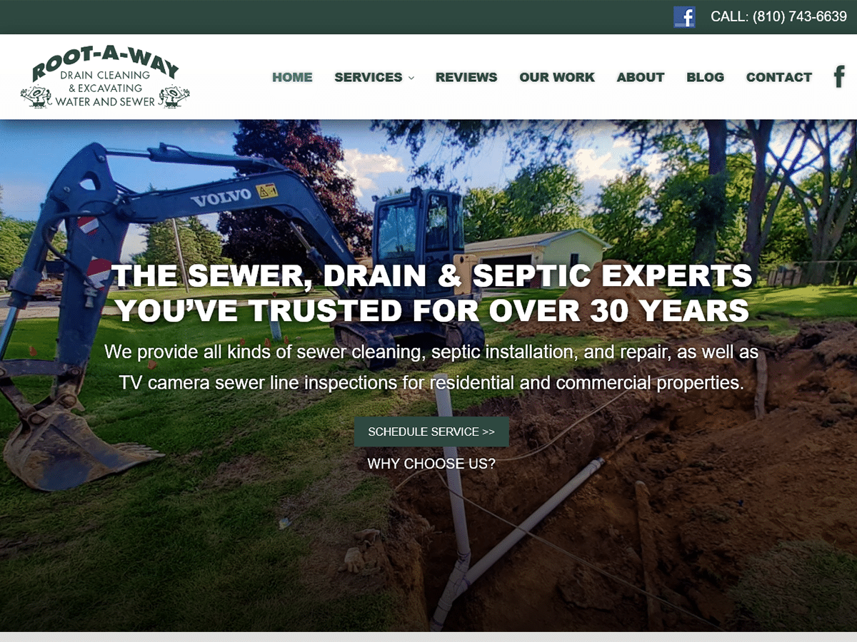ROOT-A-WAY Drain Cleaning Launches Website